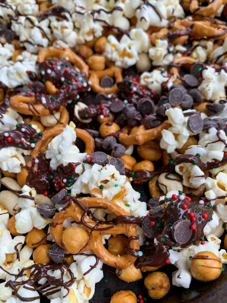 close up picture of the sweet & salty christmas snack mix