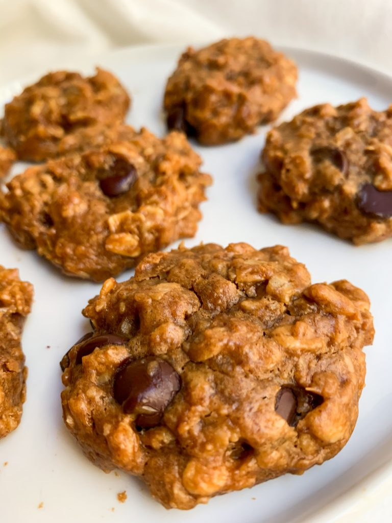 a close up shot of a plate of Peanut Butter Chocolate Chip Oatmeal Cookies