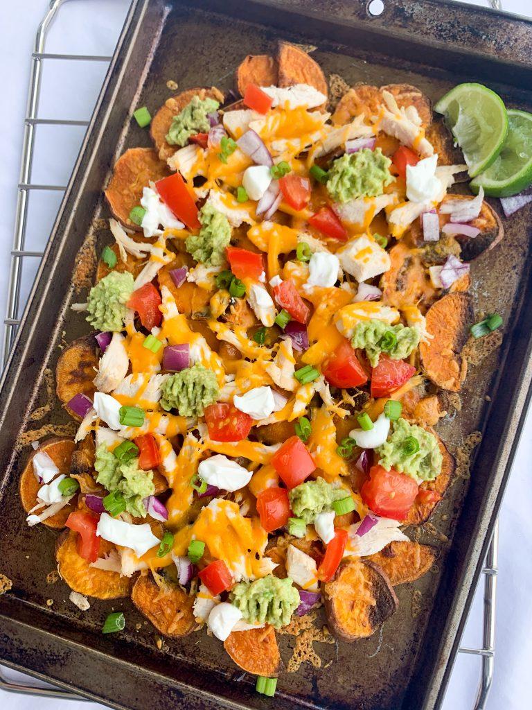 a baking tray of healthier sweet potato nachos