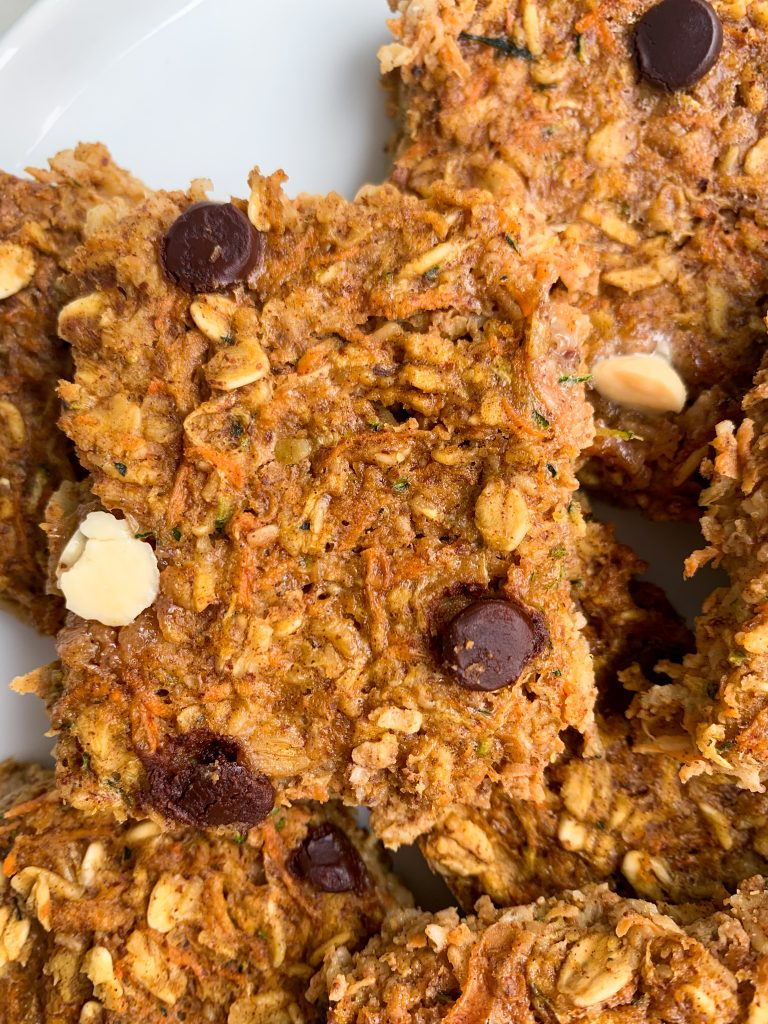 a close up of one veggie packed baked oatmeal square