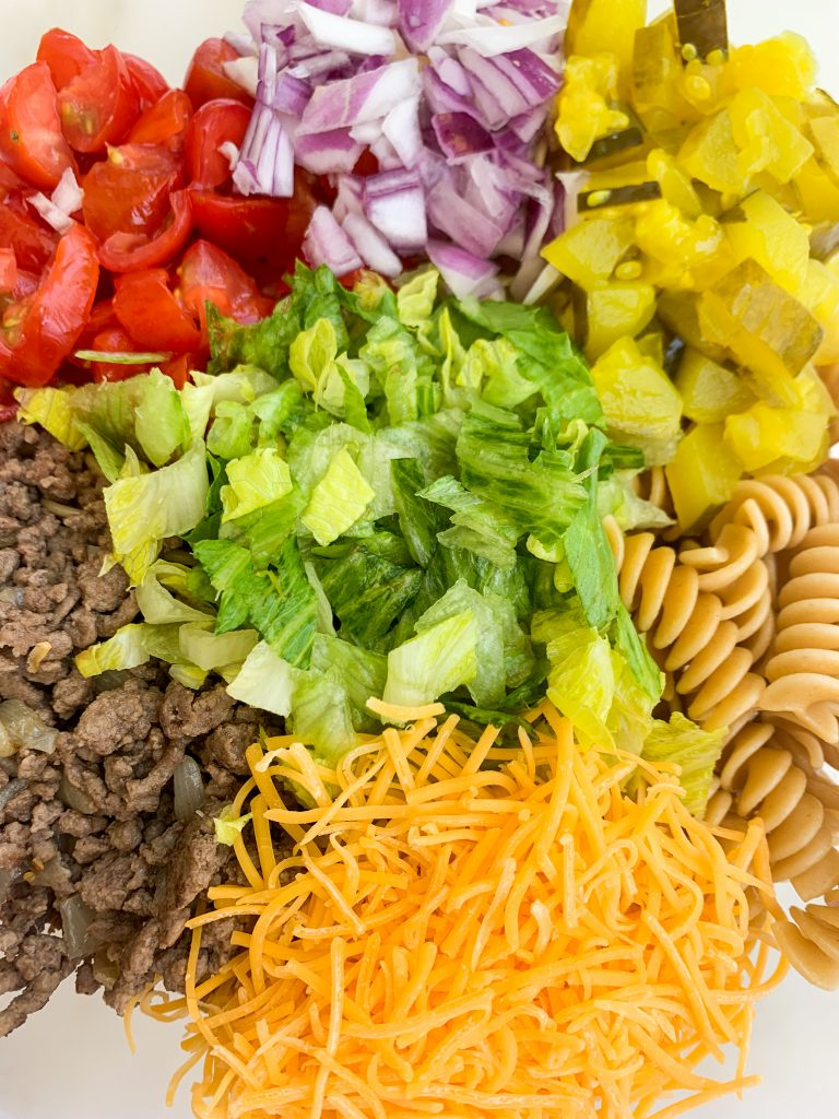 close up of the ingredients for the pasta salad