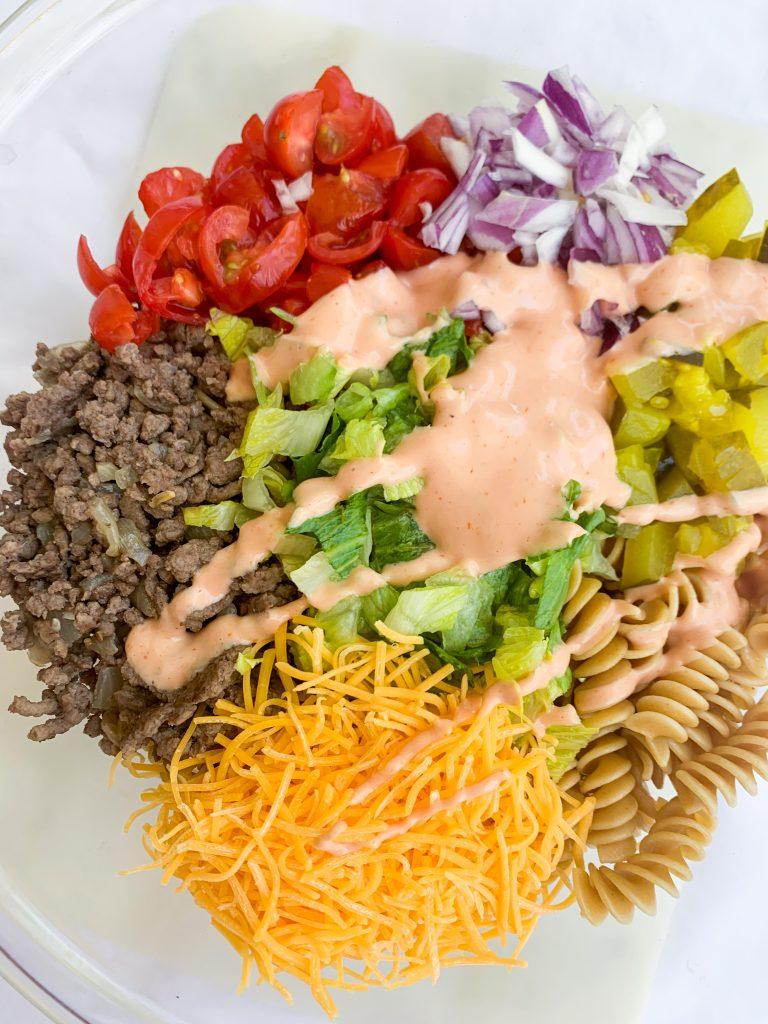 cheeseburger pasta salad