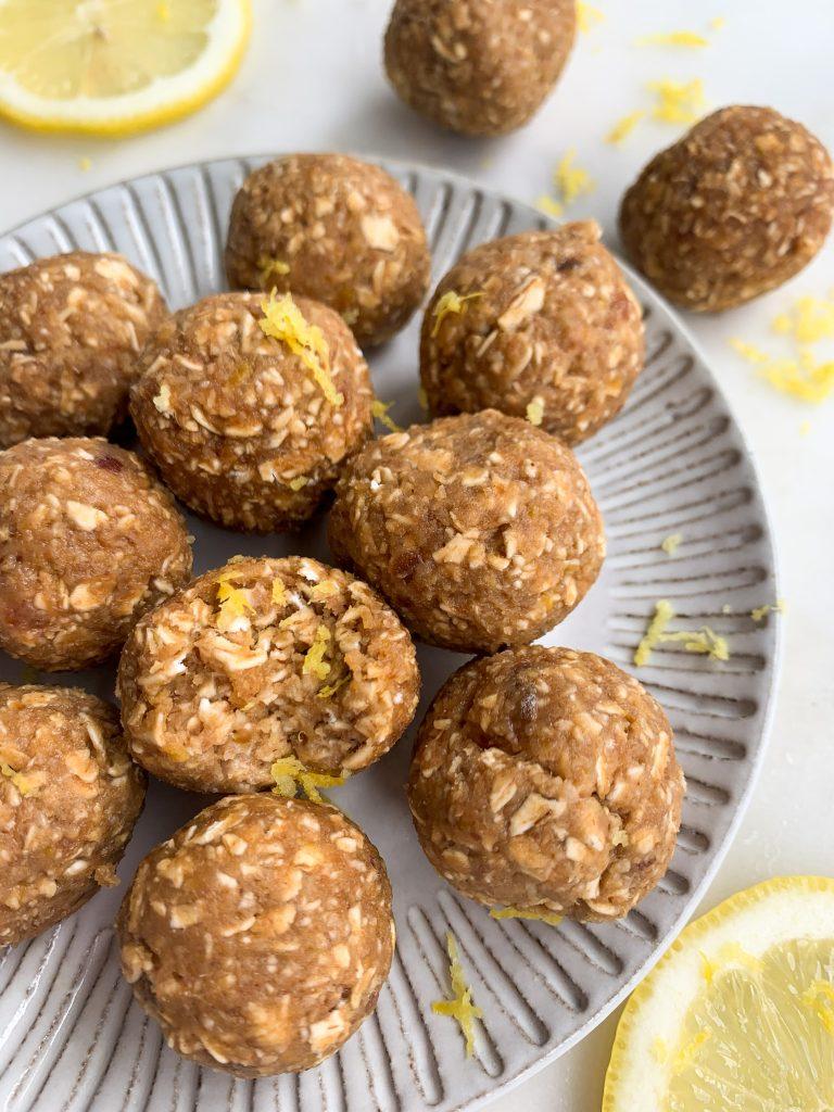 lemon oatmeal energy balls on plate