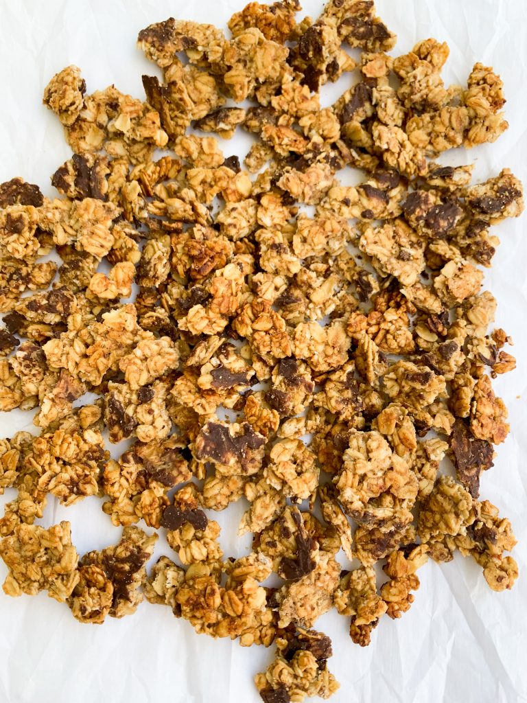 the granola on a white background