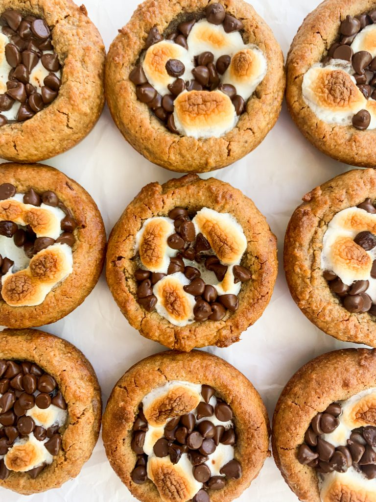s'mores cookies cups on a white background