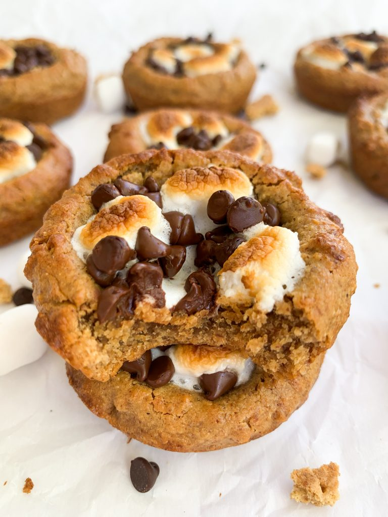 a stack of two s'more cookie cups
