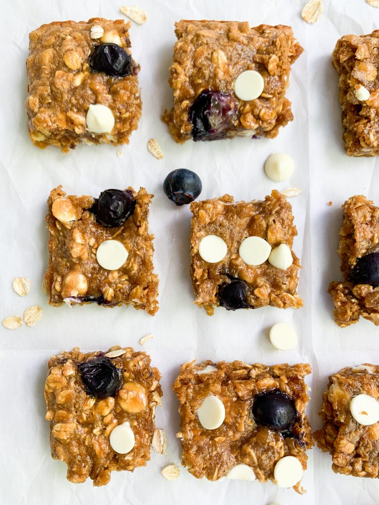 white chocolate & blueberry oatmeal cookie bars