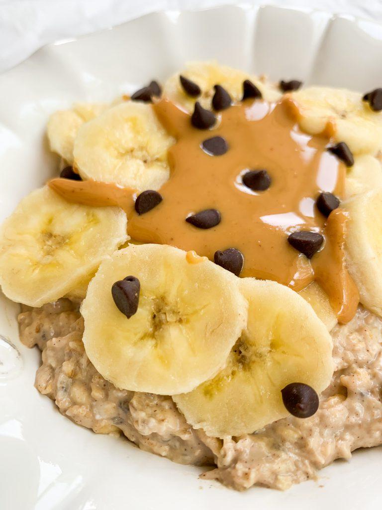 a close up shot of peanut butter banana overnight oats