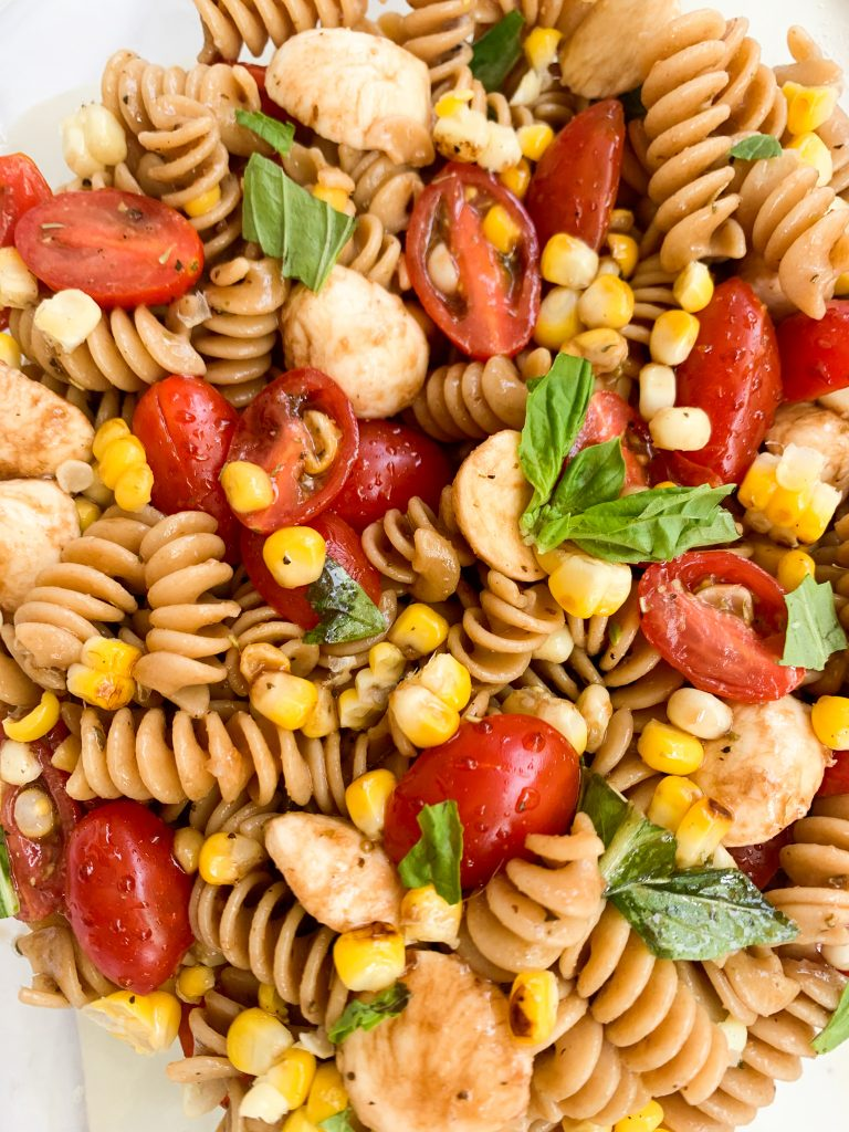 roasted corn & caprese pasta salad