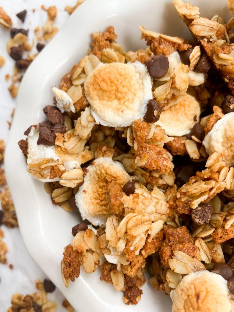 s'mores dessert granola in a bowl