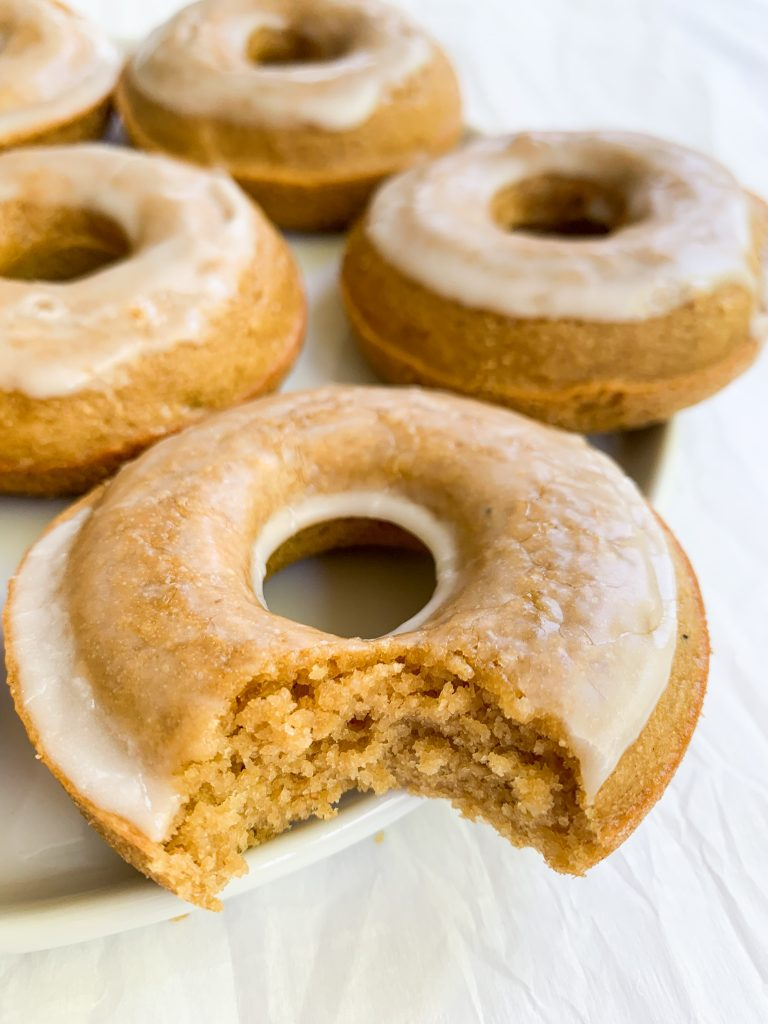 a plate of healthy baked donuts