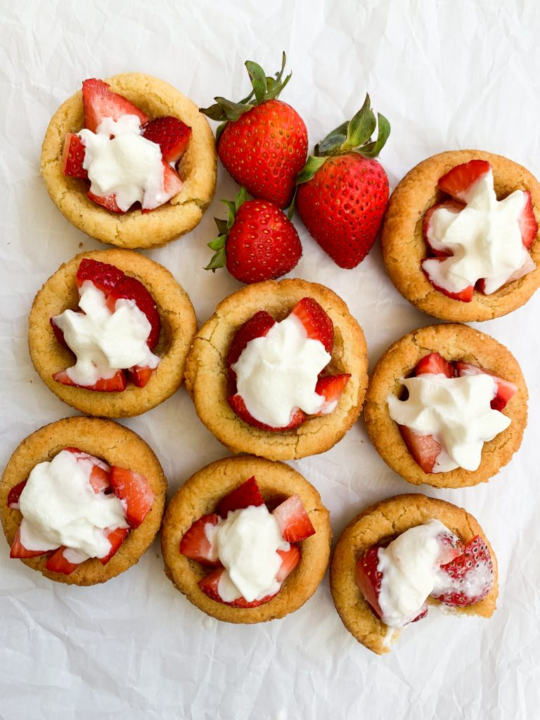 strawberry shortcake cookie cups on a white background