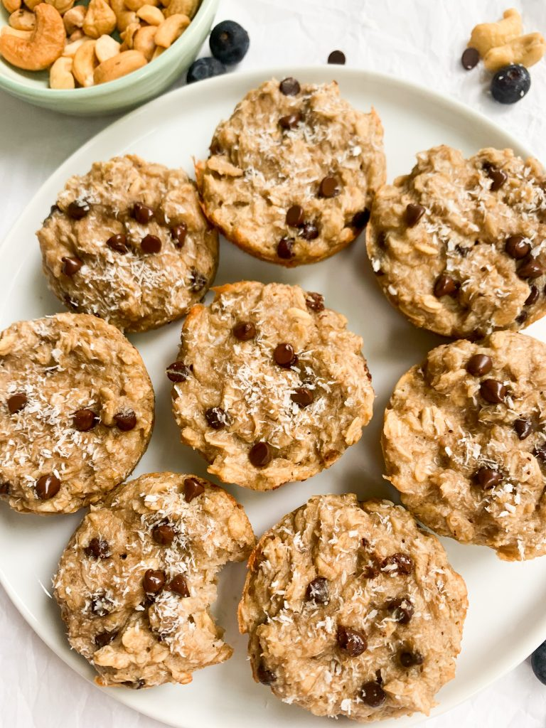 a plate of coconut cashew oatmeal cups
