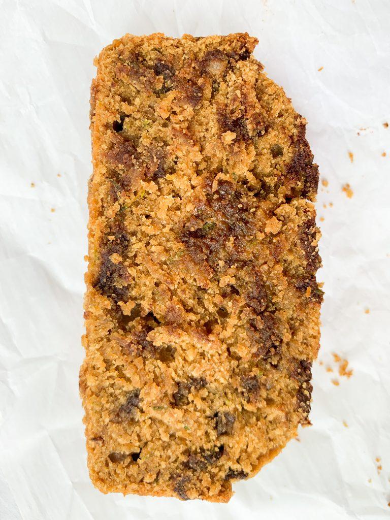 a slice of zucchini bread