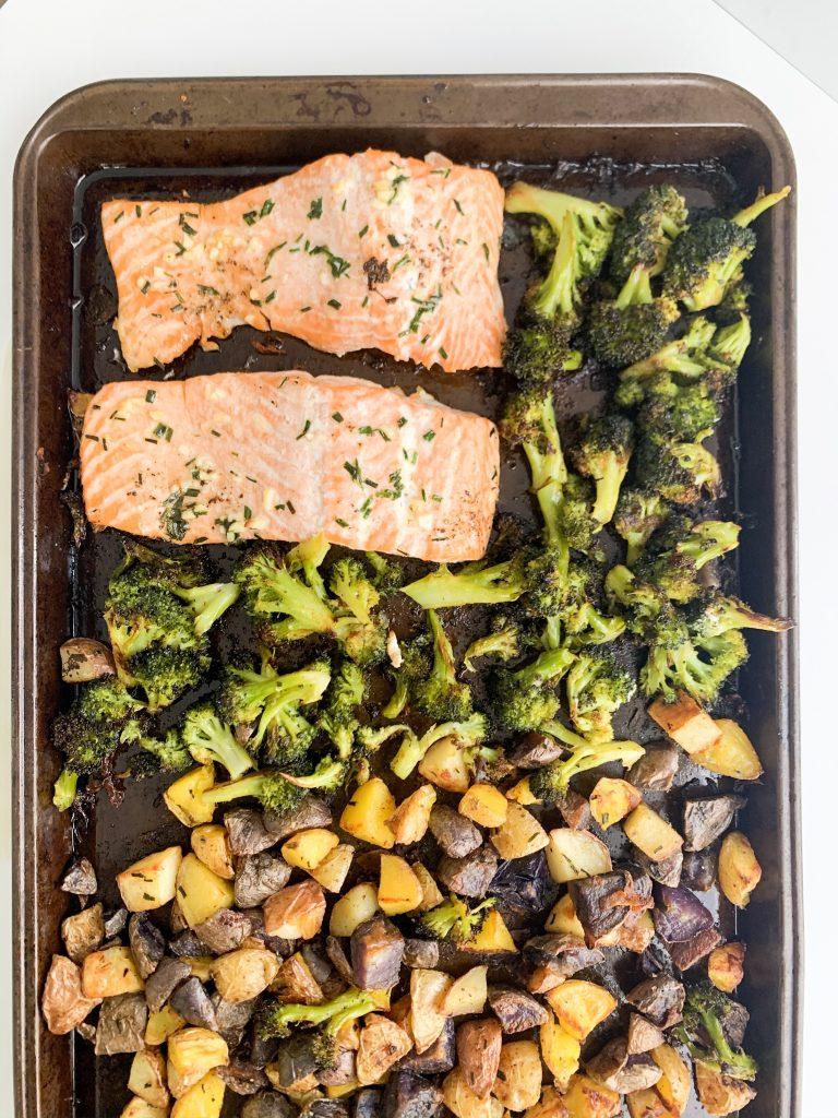 sheet pan with salmon, potatoes, and broccoli