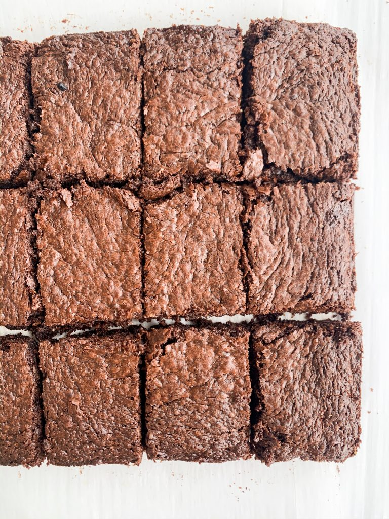 gluten and dairy free brownies on a white background