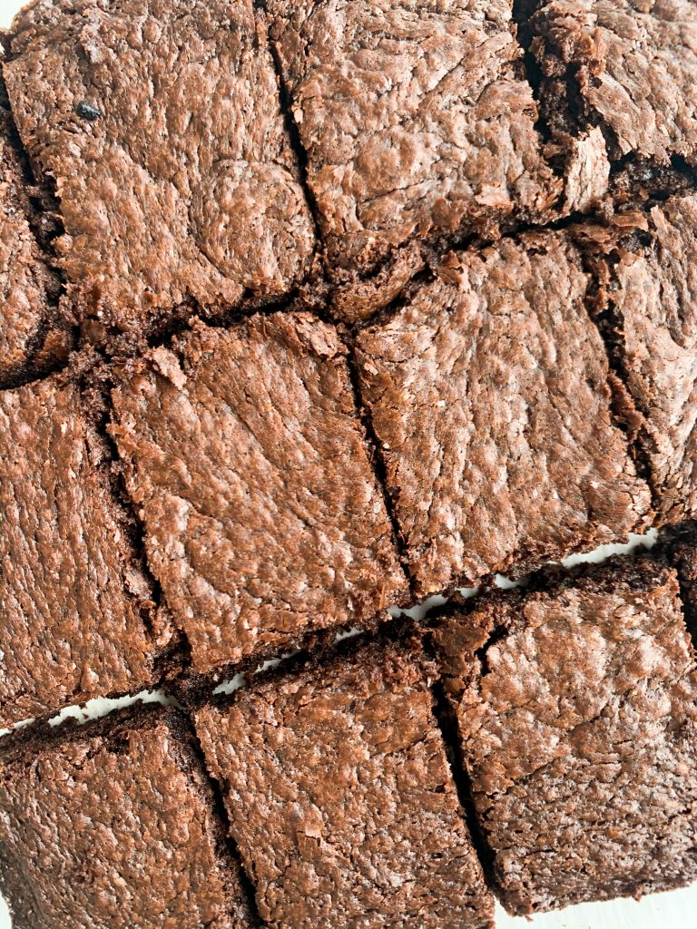 close up crinkly top brownies