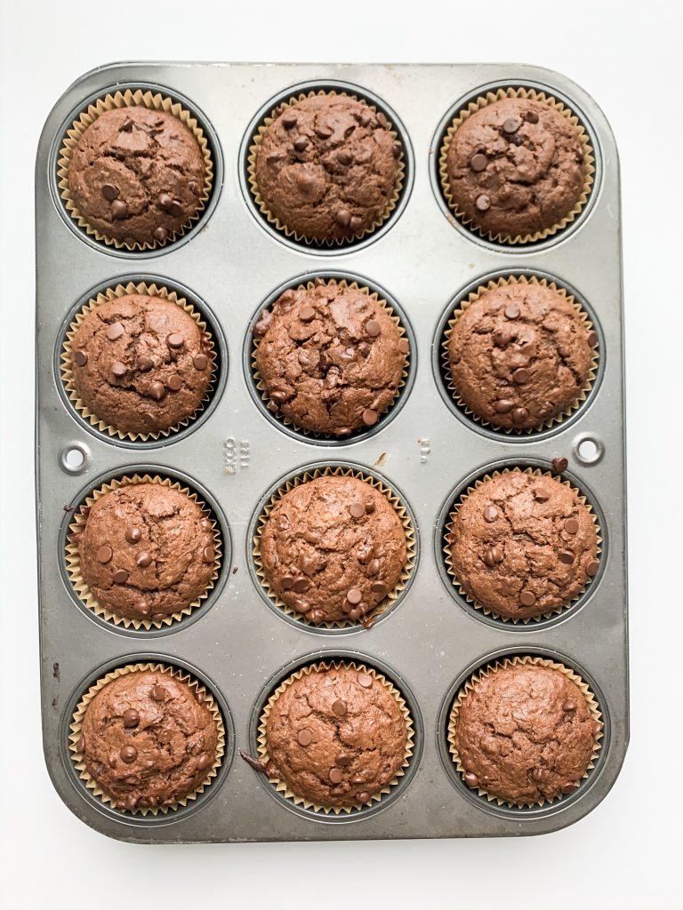 chocolate zucchini muffins still in the muffin tin