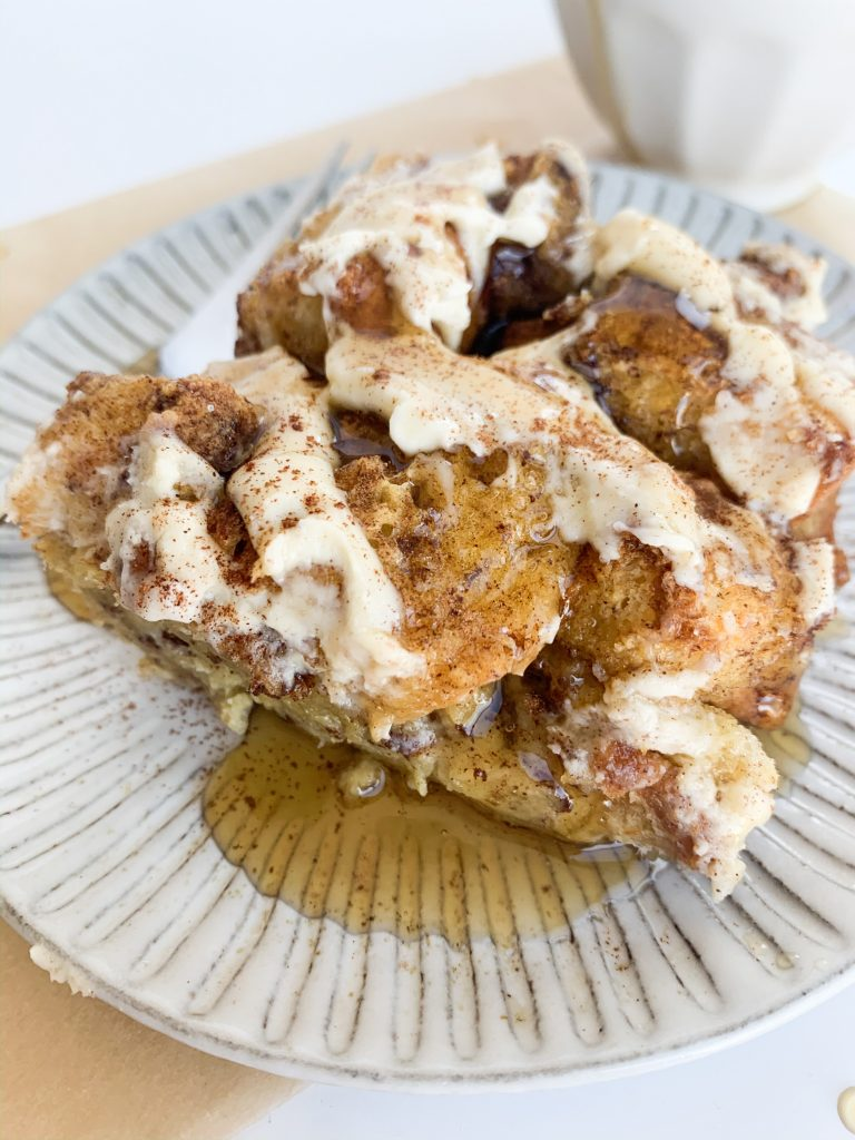 close up shot of french toast casserole