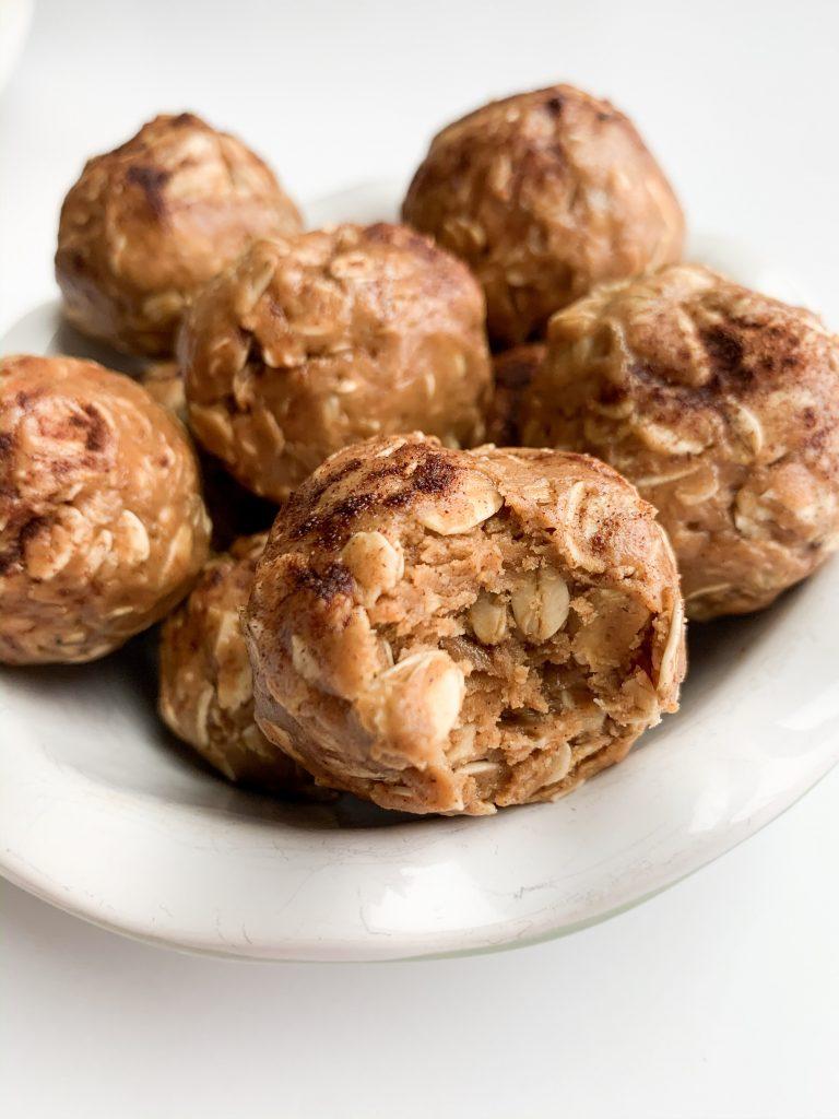 close up shot of a bowl of oatmeal energy balls