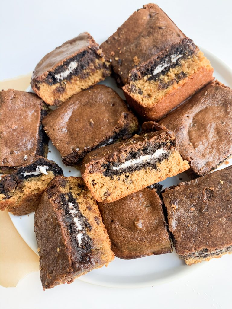a white plate of oreo cookie dough brownies