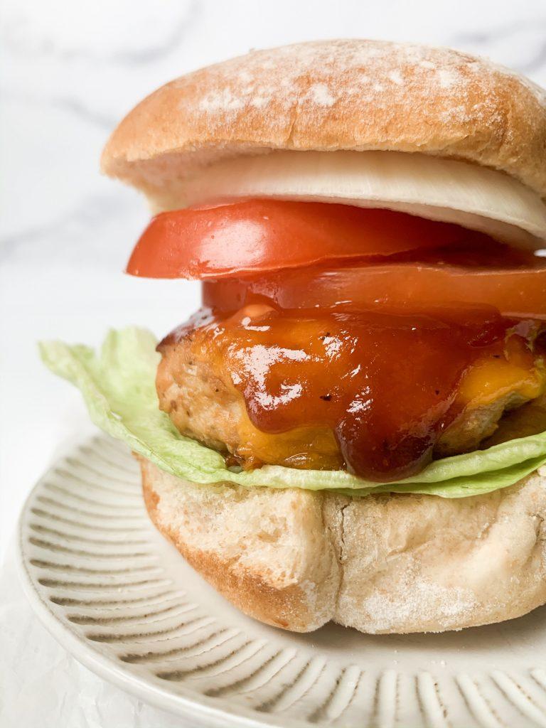 closeup shot of a barbecue chicken burger