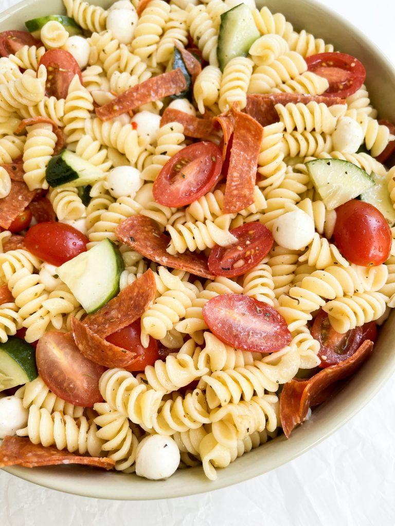 close up shot of Italian pasta salad