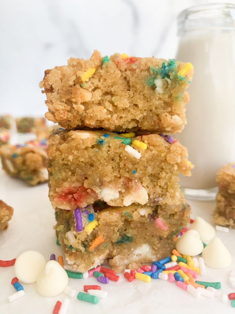 a stack of cake batter blondies