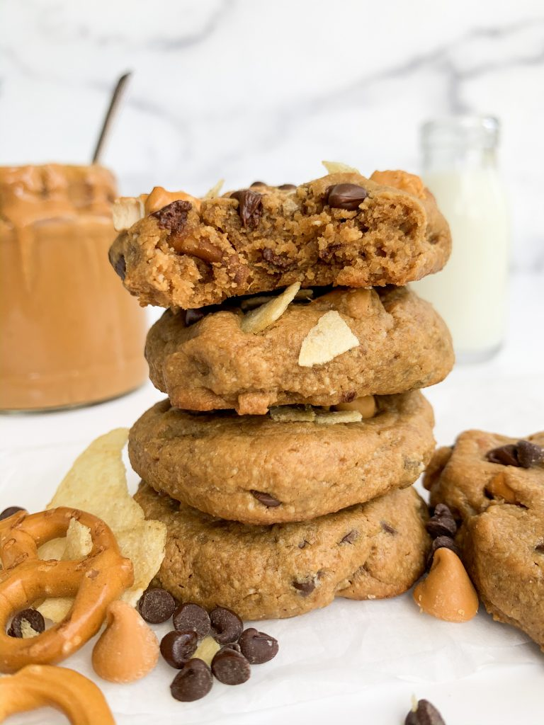 a stack of peanut butter kitchen sink cookies