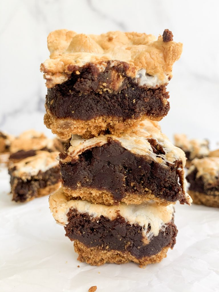 a stack if three brownies