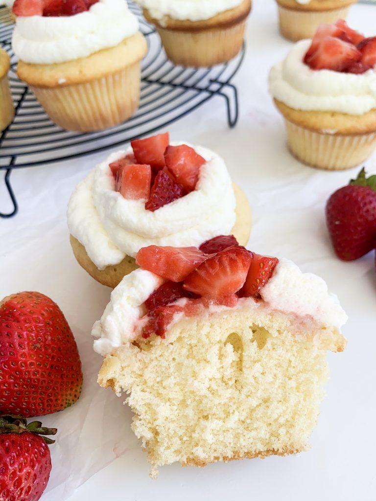 strawberry cupcake cut in half