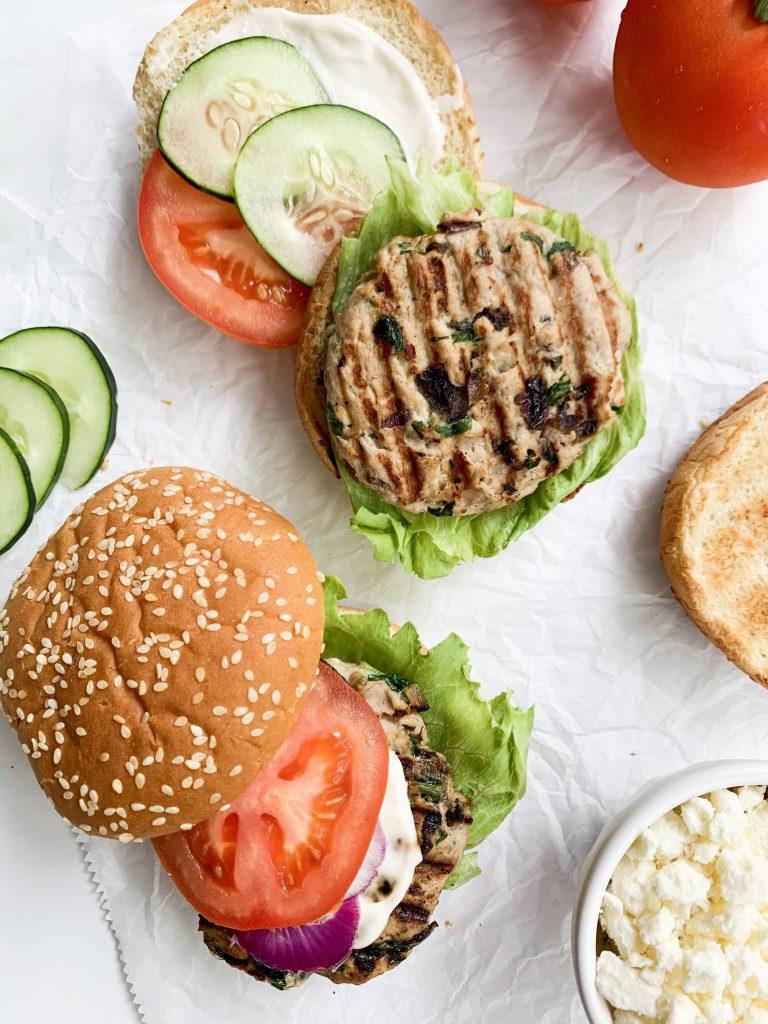 overhead shot of turkey burgers and their ingredients