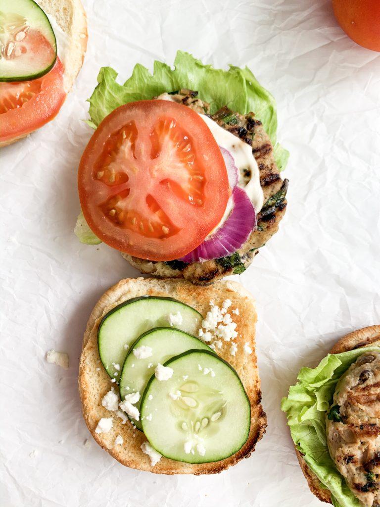 feta turkey burger on a bun