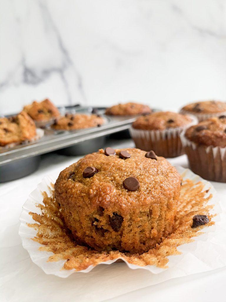 closeup shot of chocolate chip banana muffins