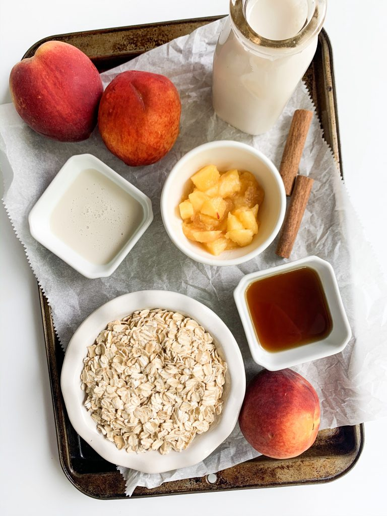 tray of peach oatmeal ingredients