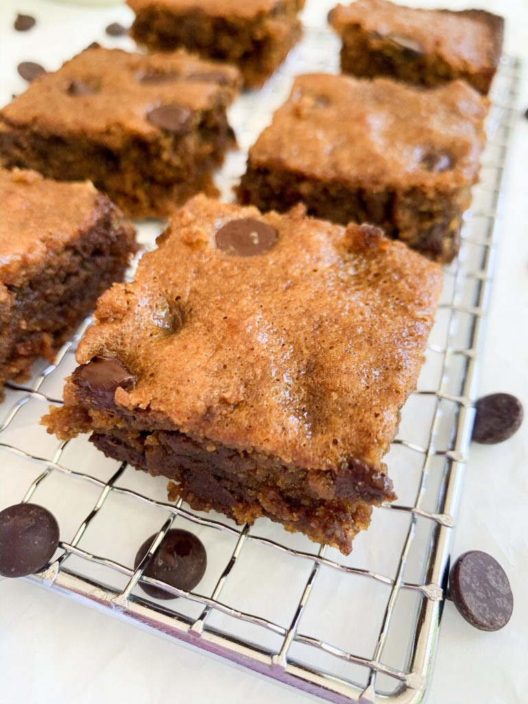 healthy blondies on a drying rack