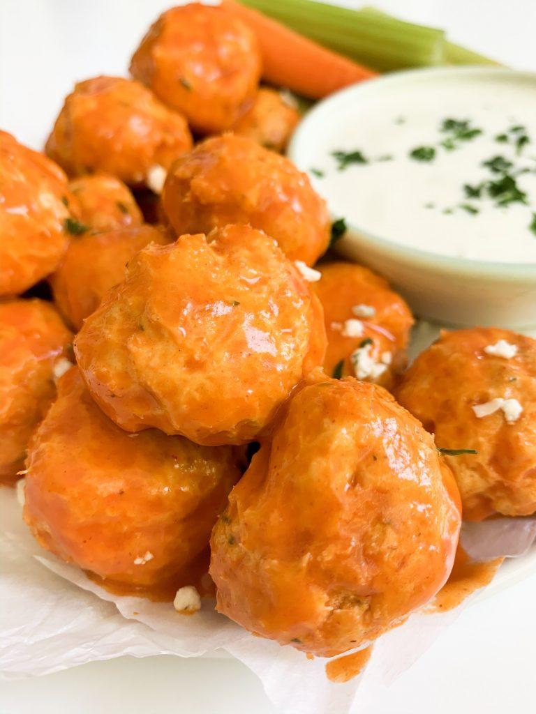 close up shot of buffalo chicken meatball recipe