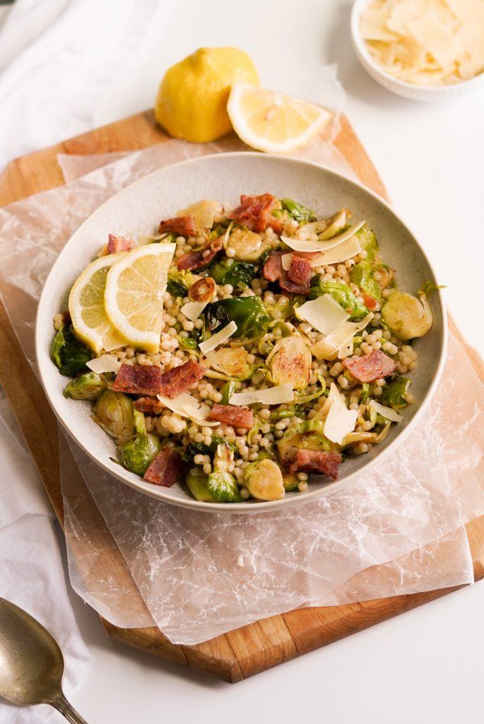 warm couscous & Brussels sprout salad