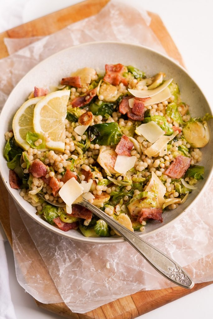 warm couscous & brussels sprout salad recipe