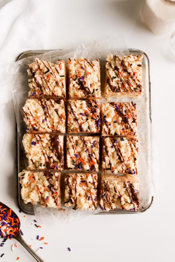 Chocolate Drizzle Rice Krispie Treats