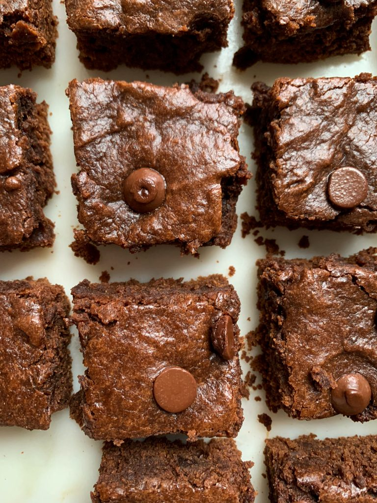 easy and healthy brownies on a white board
