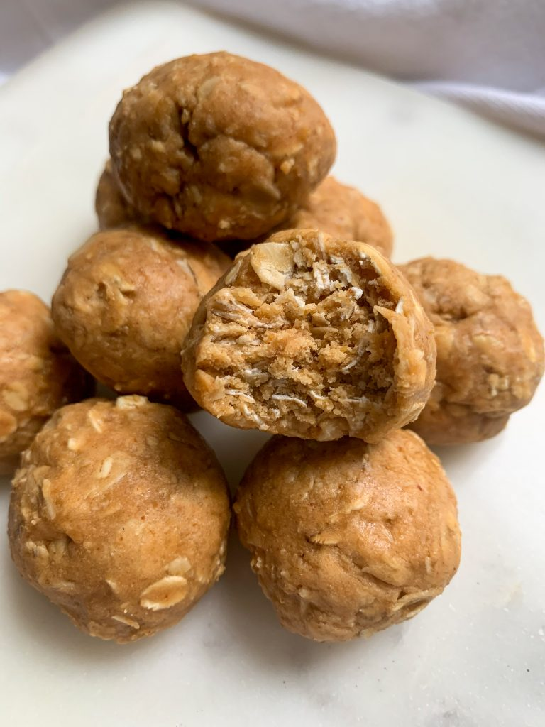 a pile of 5 ingredient protein bites on a white board